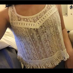 Sexy cute lace fringe crop top